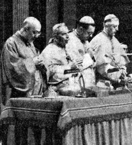 I quattro moderato del Vaticano II: Agagianian, Lercaro, Döpfner e Suenens. 1963.