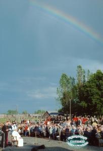 L'arcobaleno durante il Discorso di Benedetto XVI ad Auschwitz