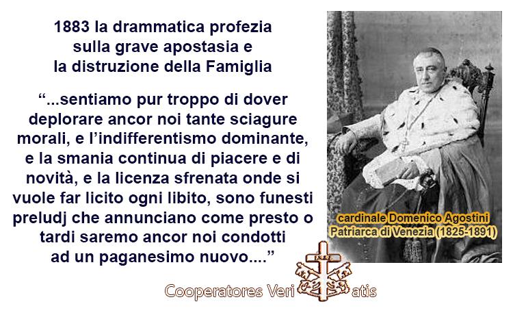 1883 Patriarca di Venezia profetizza l'apostasia e la fine della Famiglia