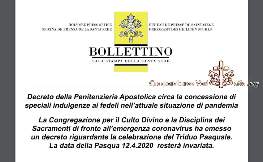 ATTENZIONE: indulgenze e Triduo Pasquale 2020, per l'emergenza Covid-19