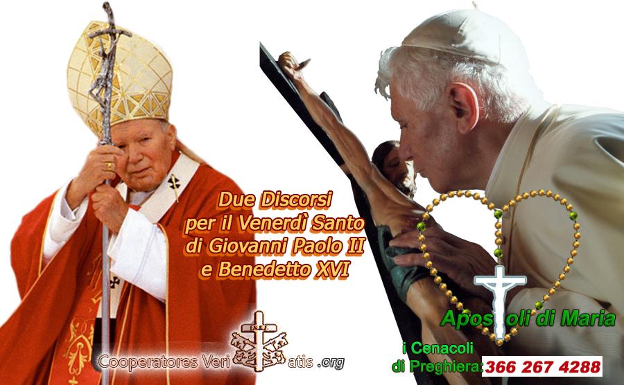 Giovanni Paolo II e Benedetto XVI nel Venerdì Santo